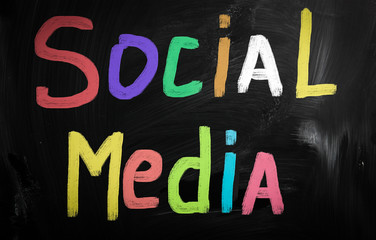 social media concept - text handwritten on a blackboard
