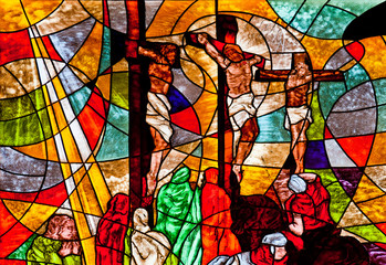 Stained glass showing Jesus crucified