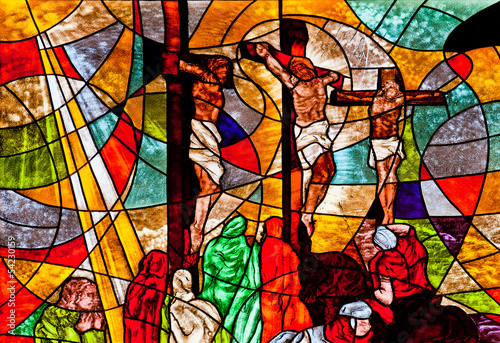 Naklejka Stained glass showing Jesus crucified