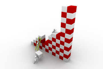 business team work building a block. Business developing concept