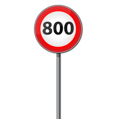 Road sign max speed 800
