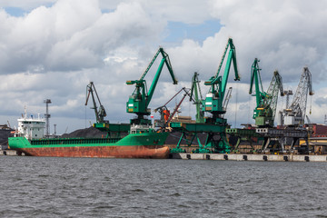 Loading of coal on ship in port of Gdynia