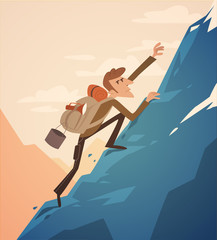 Climbing up the hill. Vector retro styled illustration.