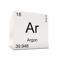 Cube of Argon - element of the periodic table