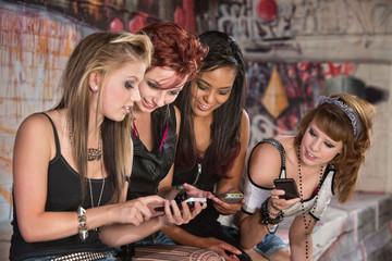 Girls Sharing Cellphone Information