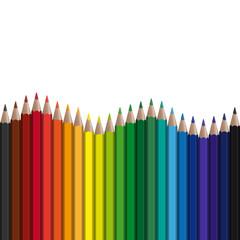 farbige Stifte in Reihe mit Welle endlos