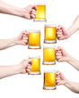 Set, closeup of a male hand holding up a glass of beer over a wh