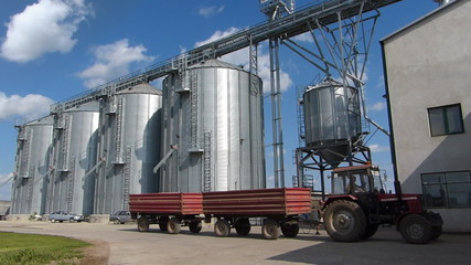 Agricultural Silo - building exterior and tractor