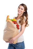Young Woman Holding Grocery Bag