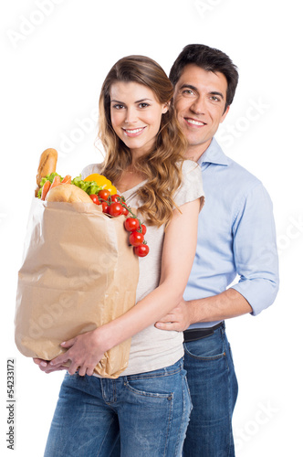 Young Couple With Grocery Bag