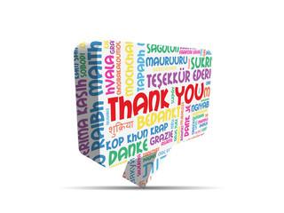 """THANK YOU"" Speech Bubble (thanks gratitude smile message card )"