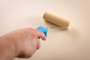 Subjective view of a hand roller-painting