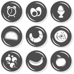 budzik śniadanie jedzenie zestaw szarych płaskich ikon