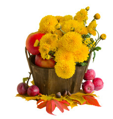 bouquet of yellow mums with apples