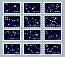 Postage stamps: the signs of the zodiac