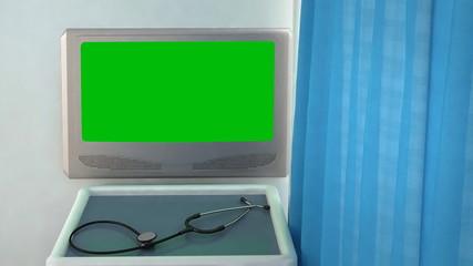 blank medical screen closeup
