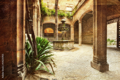 typical patio in Spain - picture in artistic retro style.