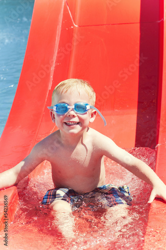 Little boy Having Fun at the Water park