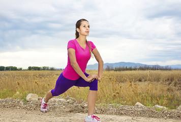 Beautiful Hispanic fitness Woman Outdoors