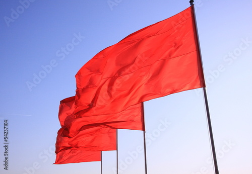 flying Chinese red flags