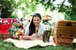 hübsches Model beim Picknick