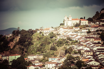 View of the city of Ouro Preto in Minas Gerais Brazil