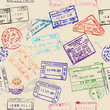 Seamless texture with real visa stamps. - 54238377