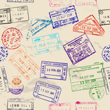 Seamless texture with real visa stamps.