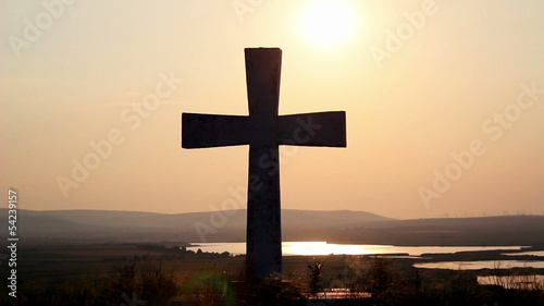 Cross on top of the hill w/grad sunset filter (timelapse)