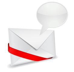 3d envelope with speech bubble