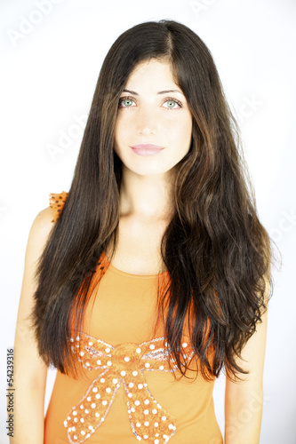 Gorgeous female model with straight and wavy hair