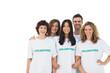 Smiling group of volunteers standing