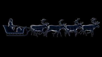 Santa flying in sleigh silhouette animation loop