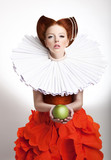 Retro Style. Styled Redhead Woman Duchess in Vintage Frill