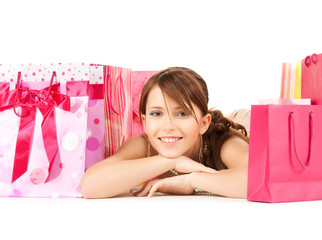 girl with color gift bags