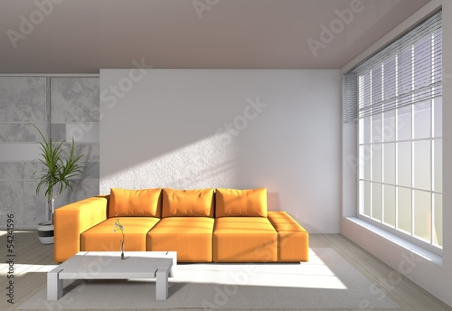 modern room interior - Sofa in orange
