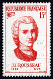 Postage stamp France 1956 Jean Jacques Rousseau, Philosopher