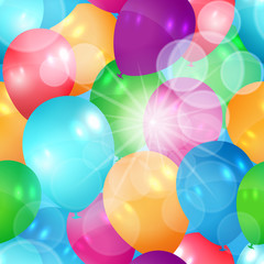 Glittering seamless summer balloons illustration