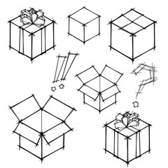 Set of black and white sketches of gifts and postboxes. Eps10