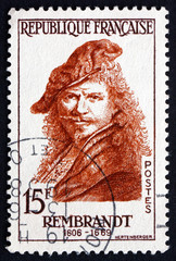 Postage stamp France 1957 Rembrandt, Dutch Painter, Portrait