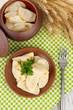 Tasty dumplings with fried onion