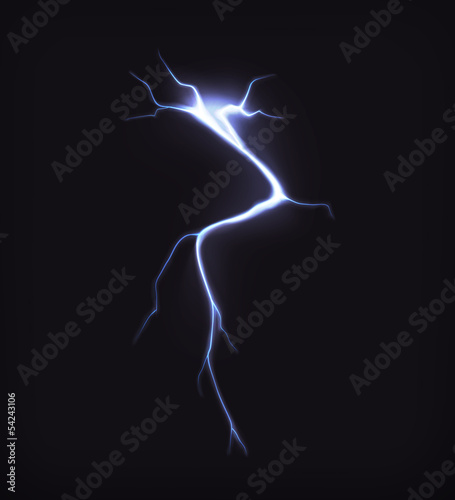 Lightning on black