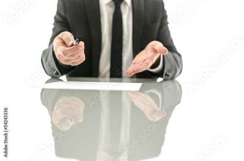 Businessman offering to sign a contract