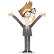 Businessman, happy, standing, open arms, welcome