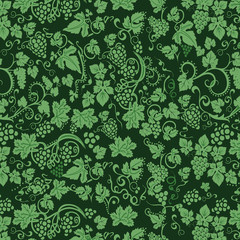 pattern of grapes on a green background