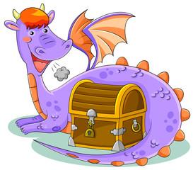 cute dragon with treasure chest