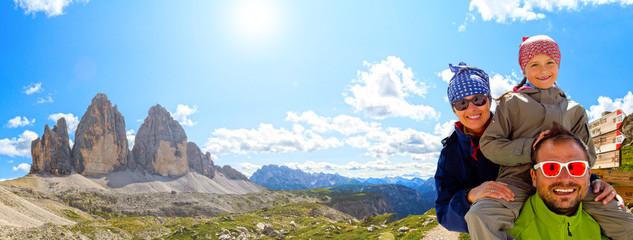 Family on hike, Tre Cime di Lavaredo - Dolomite - Italy