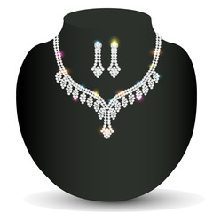 wedding silver necklace woman with precious stones