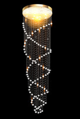 a modern chandelier with crystal pendants on the black