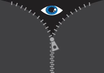 Large zipper opening with eye peeking through